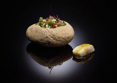 Atlantic Hake, oyster grains, citrus-basil vinaigrette, sauce ravigote