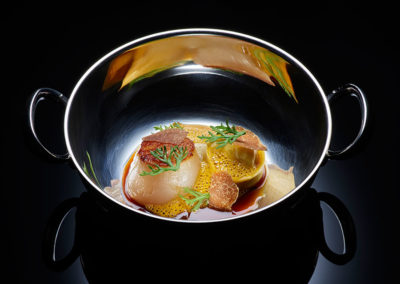 Hokkaido Scallop, Squid 'Tortellini', Emulsion of Carrots